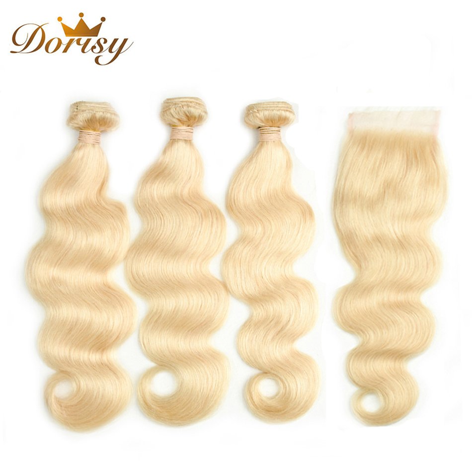 Dorisy Hair 4 Pcs 100% Human Hair Bundles With 4*4 Lace Closure Free Shipping Body Wave 613 Blonde Indian Remy Hair Extension