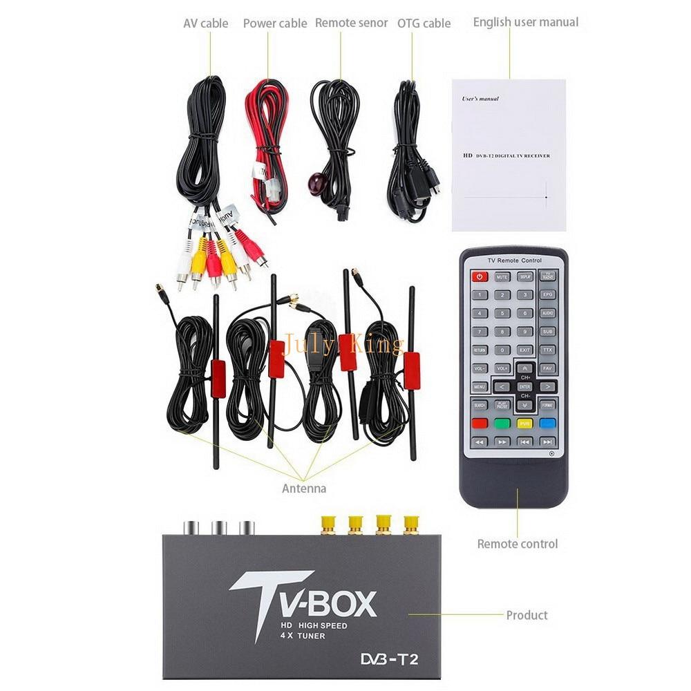 Four Antennas DVB T2 Car Digital HD TV Receiver, DVB T2 Receiver HDMI TV Tuner Support 160KM/H MPEG 1 / 2 / 4, H.264 Decoder