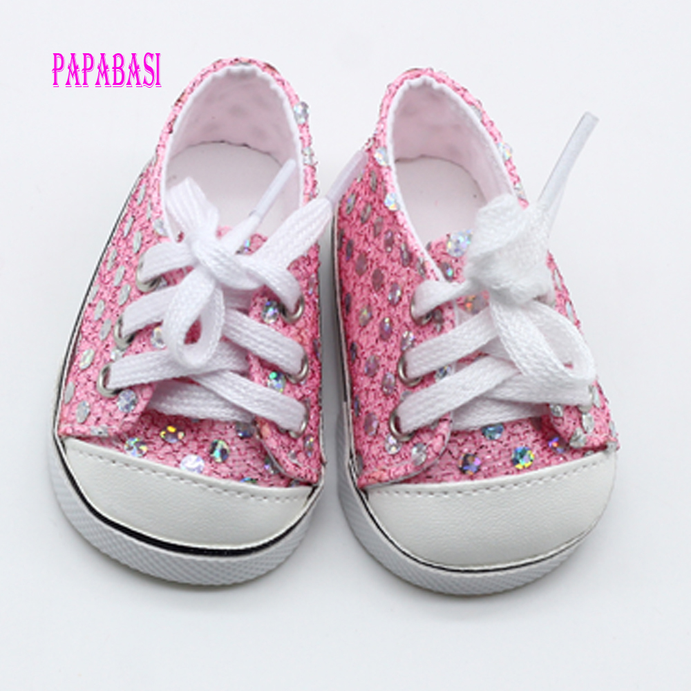 Pink Cute Doll Shoes For 18 Inch Baby Doll Handmade Sneakers Girl Clothes Accessories 43cm Baby Doll