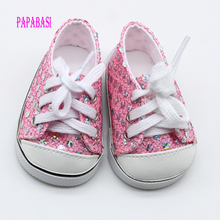 Pink Cute Doll Shoes For 18 Inch Baby Doll Handmade Sneakers
