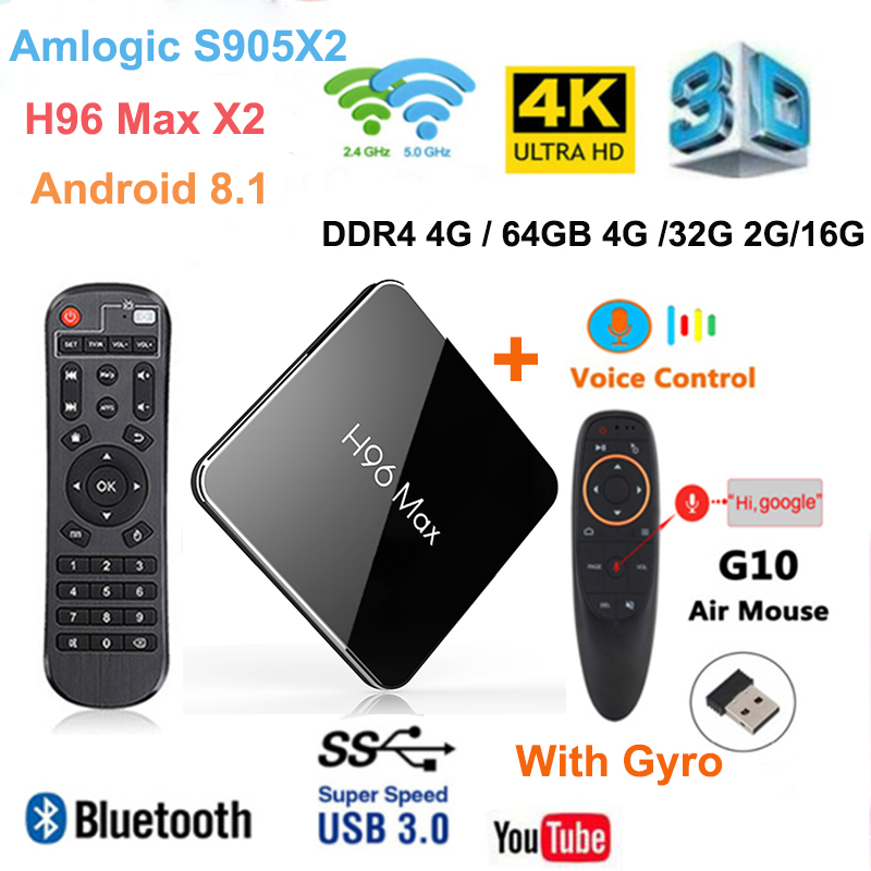 4GB RAM 64G Android 9 TV BOX H96 MAX X2 Amlogic S905X2 Smart 4K lecteur multimédia 2.4G & 5G Wifi PK X96max H96MAX décodeur Netflix
