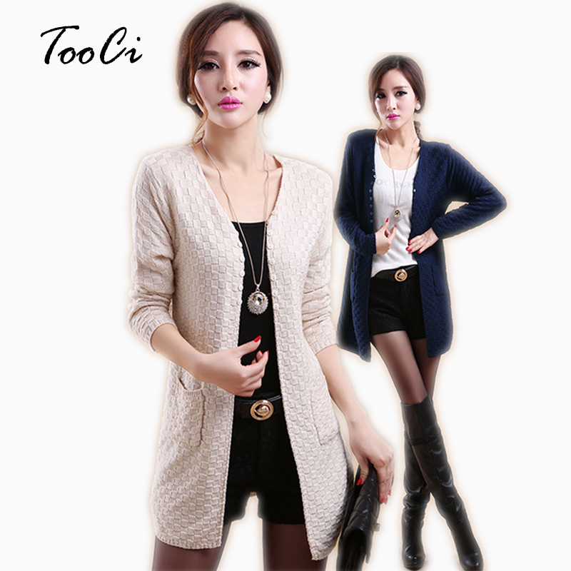 New Spring  Women Beige  Cardigan Casual Long Sleeve Knitted Cardigans Ladies Sweaters Fashion Long Cardigan Coat With Pockets