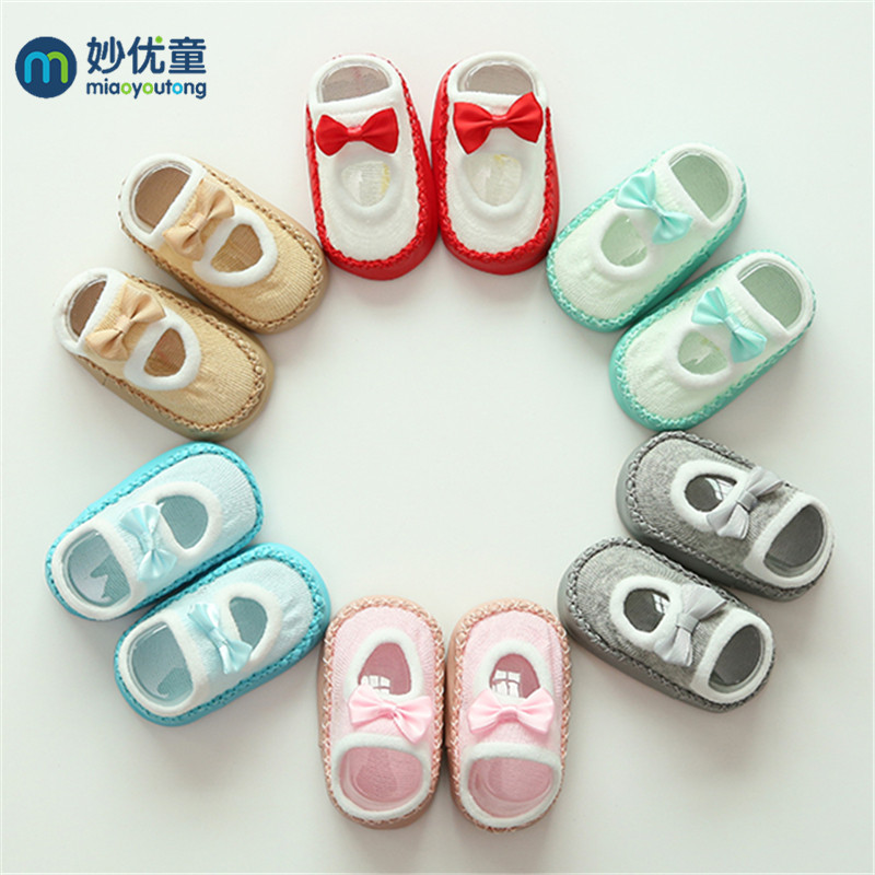 2019 Classic Newborn Shoes Infant First Walkers Tollder Shoes Baby Prewalker Floor Socks Anti Slip Soft Sole Sock Miaoyoutong