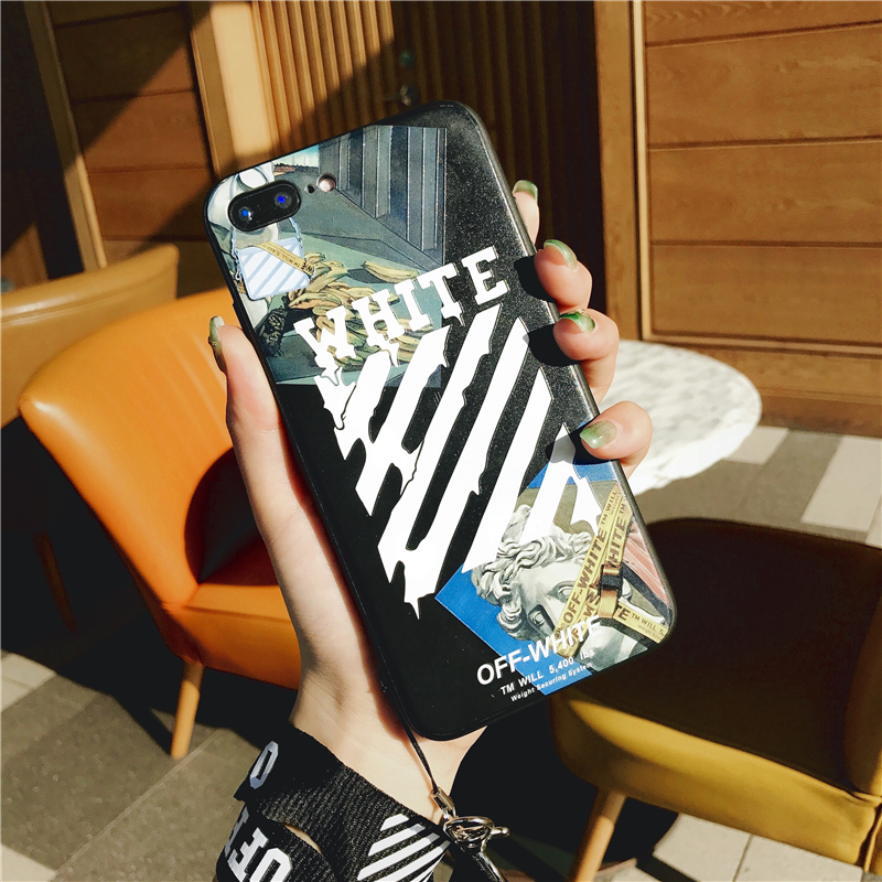Wood - Off Twill Lanyard Soft Black Tpu Phone Case for IPhone X XR XS Max 8 7 6 6S Plus White Back Cover Offwhite