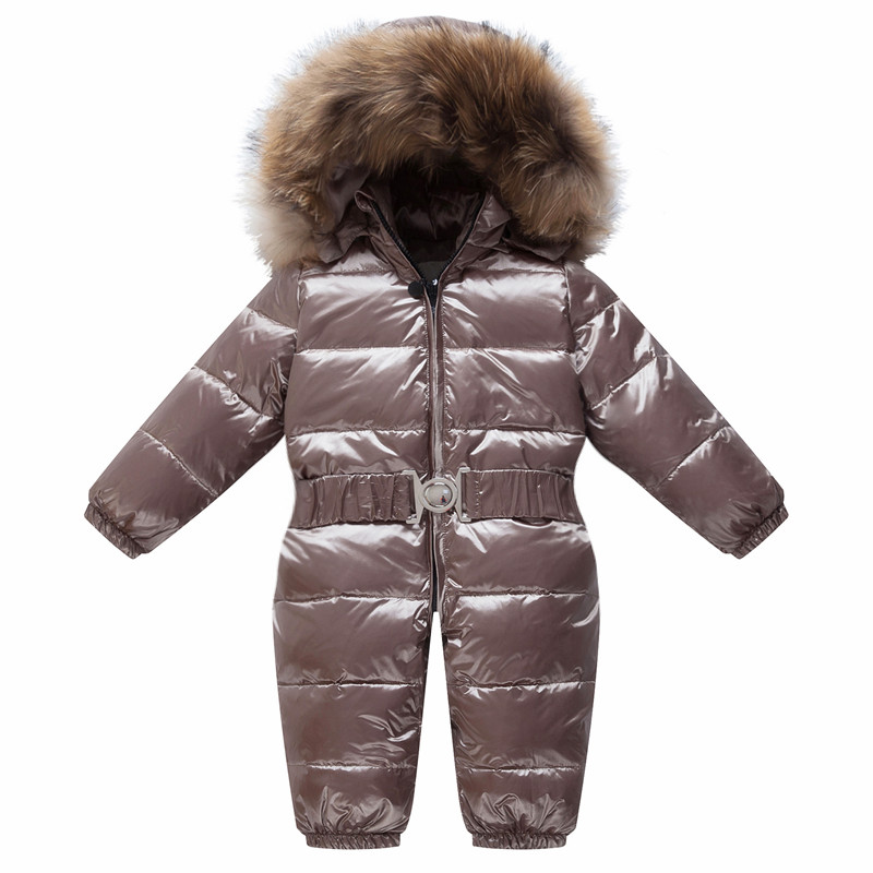 Baby Jumpsuits Boys Girls Winter Overalls Baby Rompers Duck Down Jumpsuit Real Fur Collar Children Outerwear Coveralls Newborn baby clothes baby rompers winter christmas costumes for boys girl zipper rabbit ear newborn overalls jumpsuit children outerwear