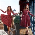 European and American Style Corset Long Sleeve Plaid Dress Elegant Women Summer Sexy Long Dress Casual Bow Princess Clothing