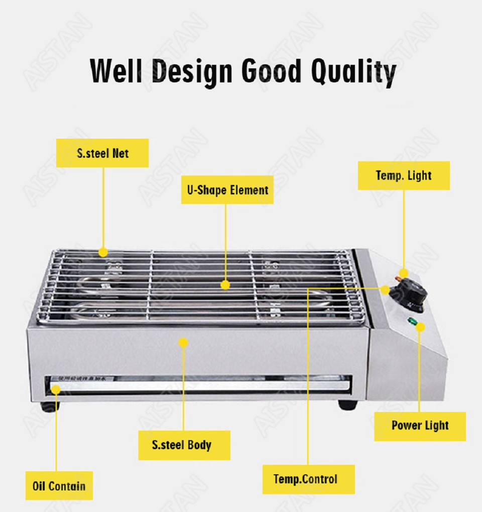 EB280 Electric Smokeless Barbecue Oven Grill for bbq machinery Stainless Steel High Power 6