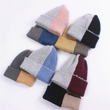 Women autumn winter knitted caps fresh and thickened students warmth Wool yarn hat Keep warm