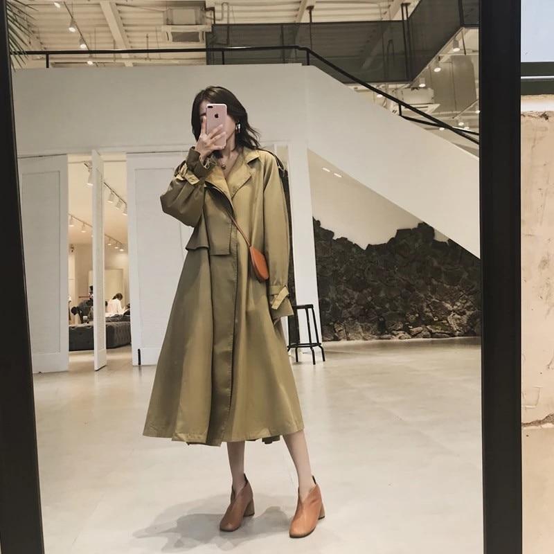 Mode vent coat Femmes Nouvelles Classique Printemps Automne Vintage Pour Trench Kaki Oftbuy Coupe Lady 2019 Office Longue Irrégulière Lâche THqF1WFn