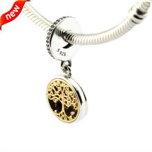 d88ba6634 DIY Fits Pandora Bracelets Family Roots Charms With 14K Gold Plated Tree 100%  925 Sterling Silver Beads Free Shipping