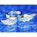 Павлин Star Silver, Позолоченные, роуз Позолоченные Крыло Ангела Качество Кольцо использовать Австрийский хрусталь-CSR066