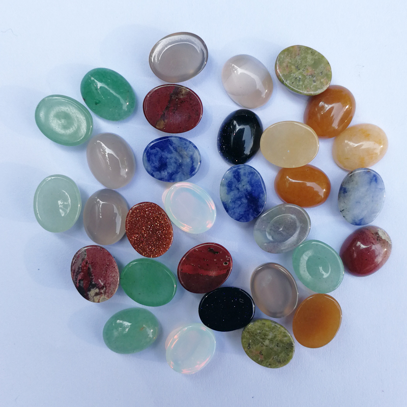 fashion Natural Stone Beads for jewelry making mixed charm accessories cab Cabochon 8x10MM 50Pcs/lot Free shipping wholesale