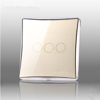 HUANGXING UK Standard Touch Switch, 3Gang1Way Gold Mirror Glass Panel Wall Light Switch, With  LED Indicator, DC870 makegood uk standard touch switch 3 gang 1 way crystal glass panel wall switch for smart home ac110 240v led indicator