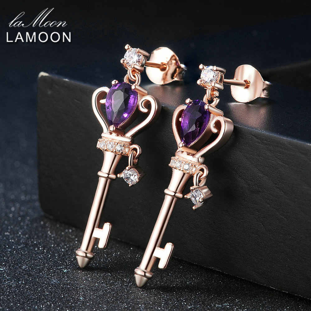 LAMOON Crown Key Stud Earring 6x4mm 0.4ct Natural Teardrop Amethyst 925 sterling-silver-jewelry  S925 LMEI045
