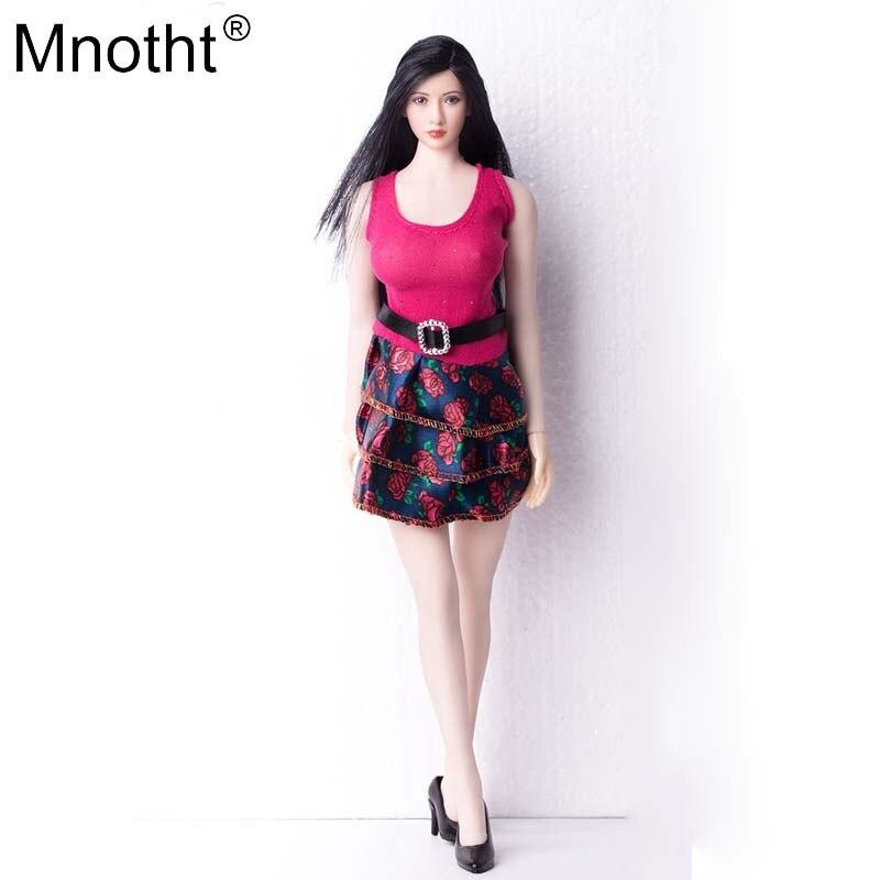 Mnotht 1/6, женское красное платье, юбка для кекса, костюм, VS035, черная обувь на высоком каблуке, игрушки, подходит для 12 дюймов, солдатская фигурка...
