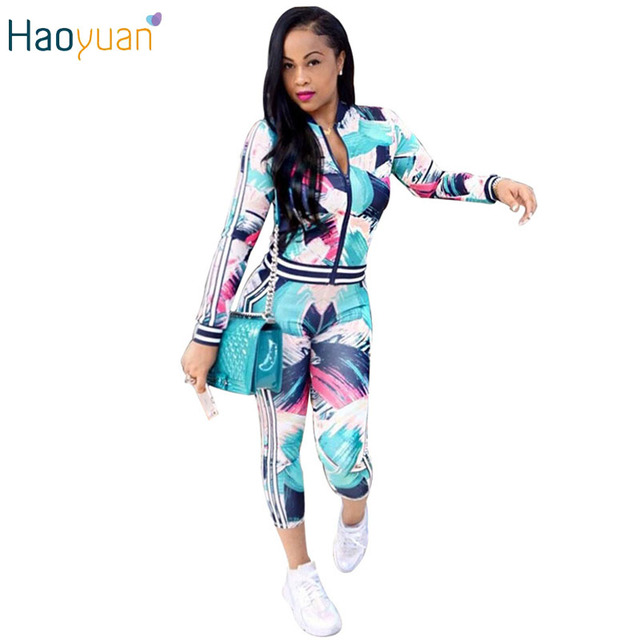 HAOYUAN Women 2 Piece Pants Sets Sweatsuit Long Sleeve Tie Dye Casual Striped Two Piece Set Tracksuit Autumn 2 Piece Outfit Sets