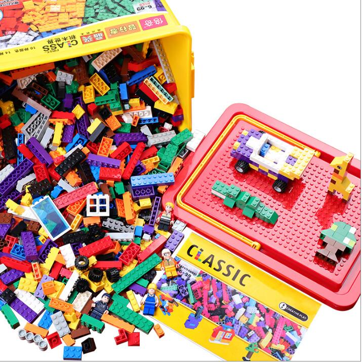 Hot Color 1000/500 PCS Building Blocks City DIY Creative Bricks Educational Building Block Toy Compatible With Legoed hot color 1000 pcs base building blocks diy bricks creative toys for child educational block bulk compatible with legoed
