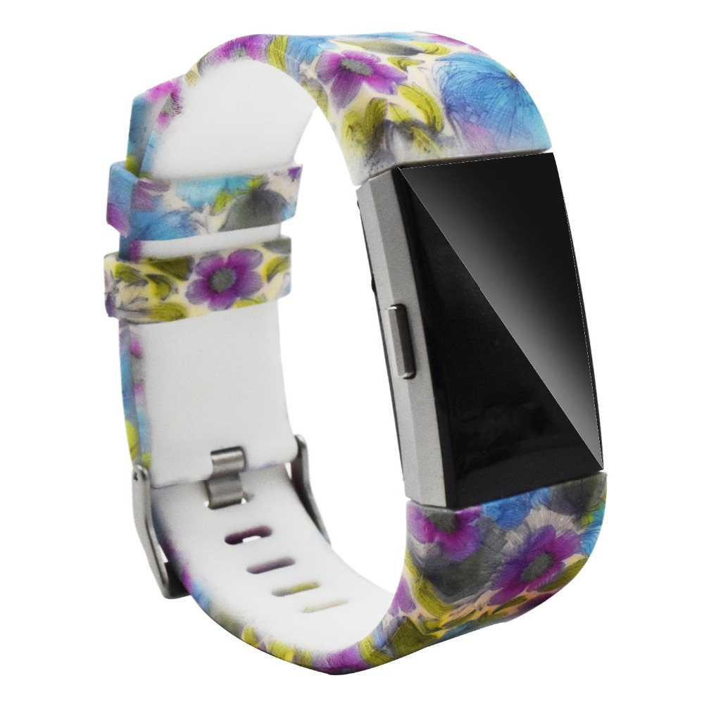 For Fitbit Charge 2 Band printing Silicone Bracelet Watch Bands Wrist Strap Replacement for fitbit Charge 2 Sport wristband in Watchbands from Watches
