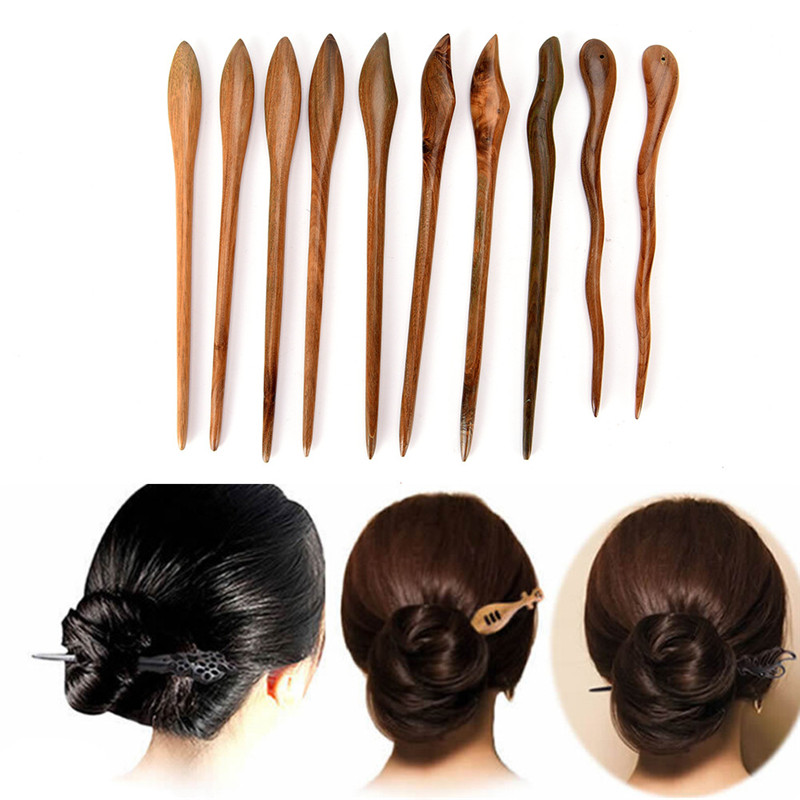 Wooden Ebony Hairwear Wedding Manual Headdress Lady's Bride Hairpins 17cm Hair Styling Accessories