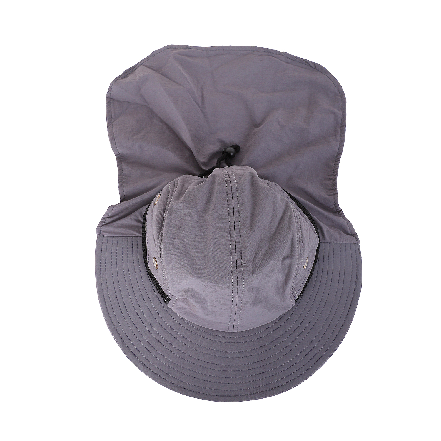 FSTE-Outdoor Fishing Hiking Boonie Snap Hat Brim Ear Neck Cover Sun Flap Cap