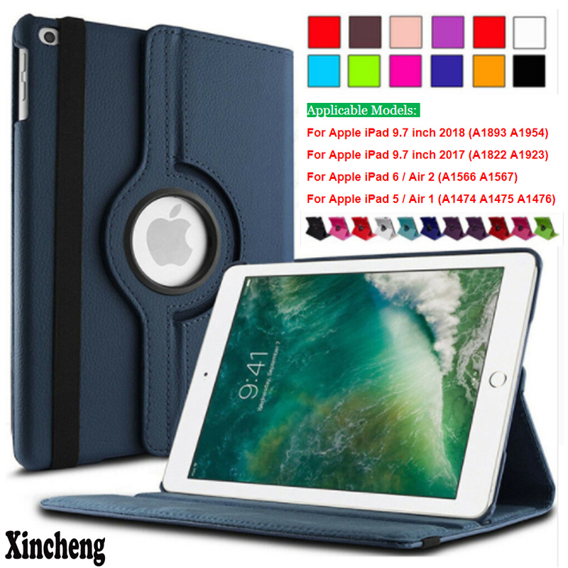 360 Degree Rotating Leather Flip Stand Smart Cover Case for Apple iPad Air 1 Air 2 5 6 New iPad 9.7 2017 2018 A1822 A1823 A1893