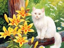 5D DIY Diamond Painting Flowers & Cat Full Square  Embroidery Sale Animal Picture Rhinestones Mosaic Handwork