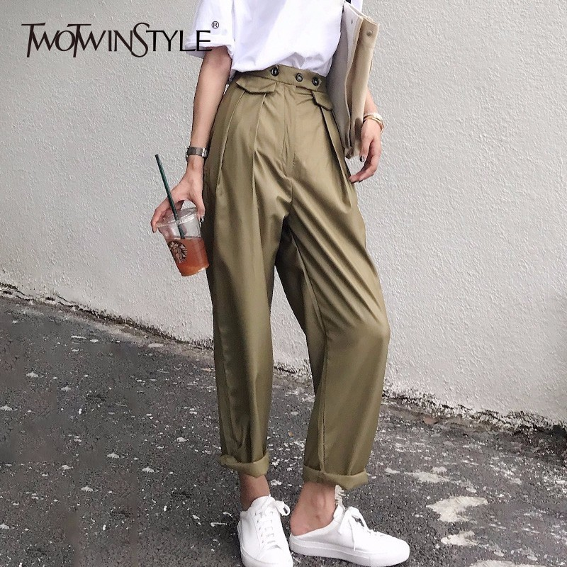 TWOTWINSTYLE Ruched Pants Summer Female High Waist Patchwork Pocket Cuffs Long Haren Pants 2018 Women Fashion