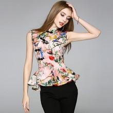 Kakagogo Novelty Chiffon Sleeveless Ruffles Floral Flower Print Mandarin Chinese Stand Collar Blouses Shirts Plus Size K057