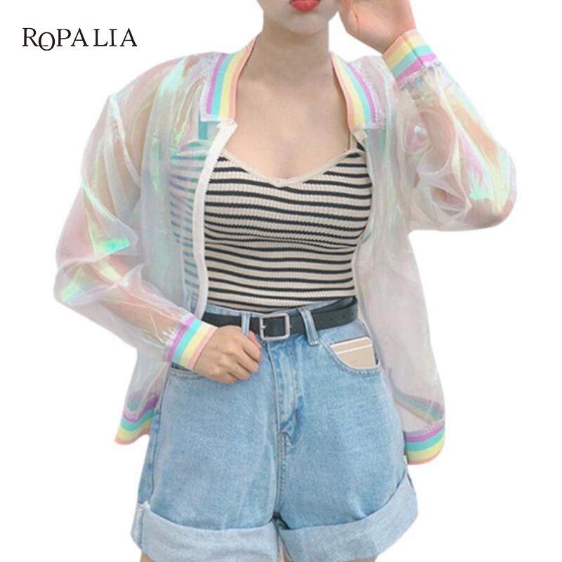 Sunproof Harajuku Summer Women   Jacket   Laser Rainbow Symphony Hologram Women   Basic   Coat Clear Transparent   Jacket