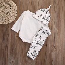 Deer Outfit Set Long Sleeve Cotton Romper Top + Pant + Hat 3pcs