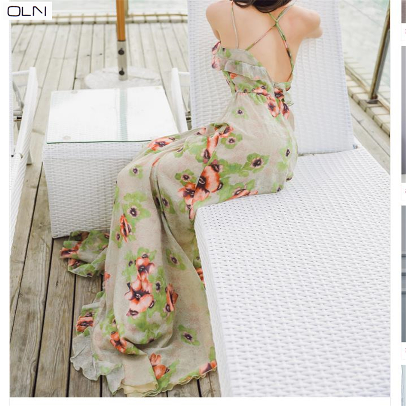 Summer  Dress Vestidos Korean OLN new sexy big leaky bohemian holiday halter strap dress for women