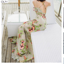 Summer  Dress Vestidos Korean OLN new sexy big leaky bohemian holiday halter strap dress for women