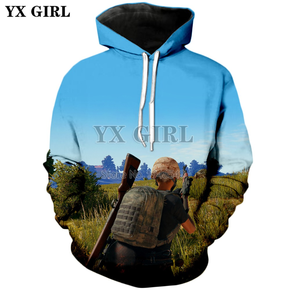 YX GIRL Mens Women Hoodie The most popular FPS games in 2018 PUBG Player unknowns Battlegrounds Print Casual hoodies
