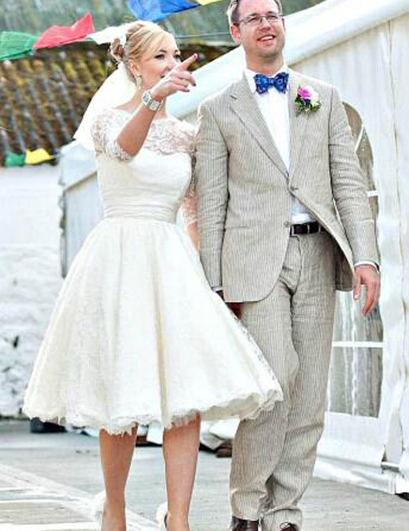 2016 vintage short wedding dresses lace scoop neckline fashion a line 34 sleeve tea length bridal gowns hot sales custom made