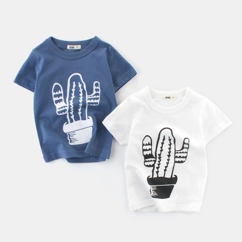 QYFLYXUE European and American children's summer children's t-shirts boys' short-sleeved shirts children's pure cotton