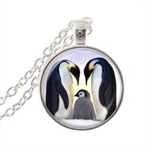 2017 New Fashion Animal Jewelry Penguins Art Pendant Necklace Silver Link Chain Lovers' Gift Glass Dome Pendants NecklacesHZ1