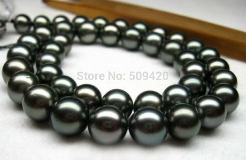 ~~ Free Shipping >>REAL AAA+ 11-12MM SOUTH SEA BLACK PEARL NECKLACE 18