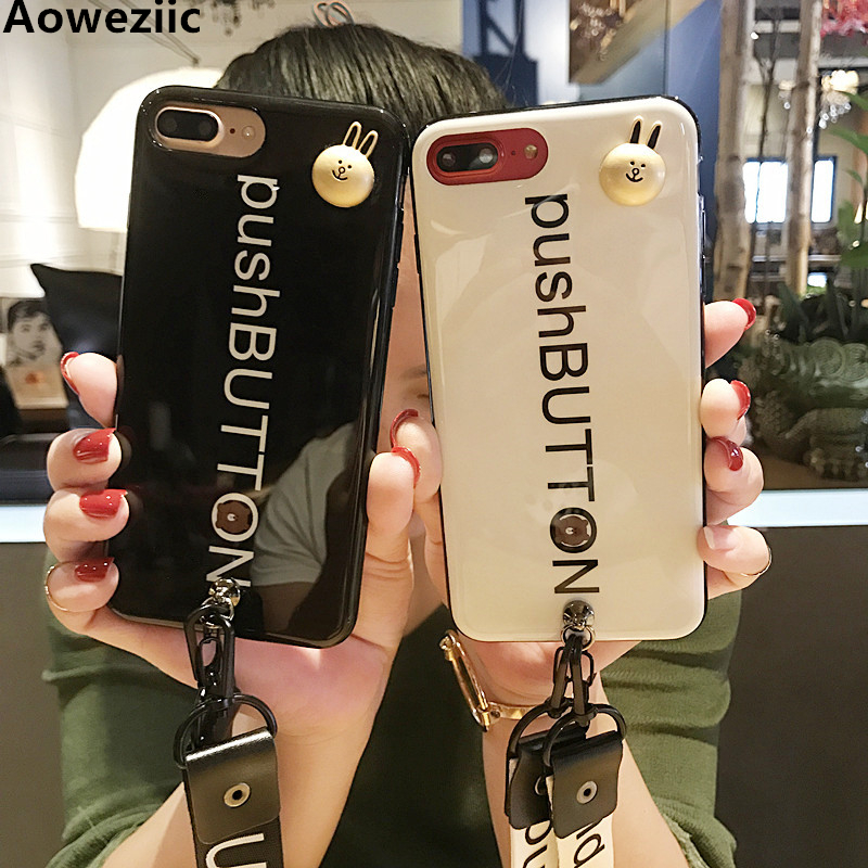 Aoweziic South Korea tide brand 7plus mobile phone shell For iPhoneX 6S package soft silicone strap personality lovers 8plus