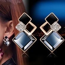 Pair of earrings new fashion jewelry rhombus crystal earrings women vintage dangler ear studs pair of vintage faux crystal oval drop earrings for women