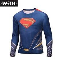 Hot Sale 2016 New DC Comics Superman Men Long Sleeve T shirts 3d Women Compression Quick Dry Fashion T-shirt Plus Size 6XL