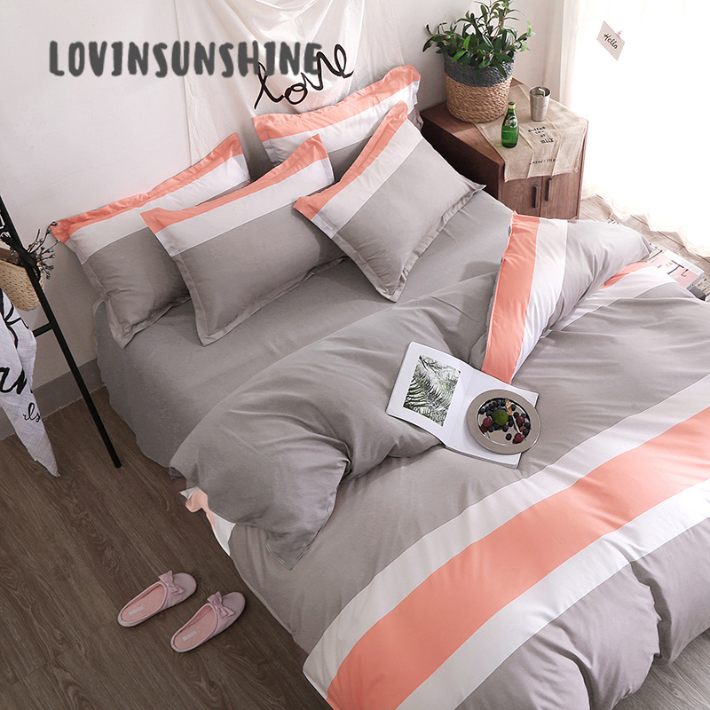 LOVINSUNSHINE Duvet Cover Set Comforter Bedding Sets Simple Style 4pcs King AB#40