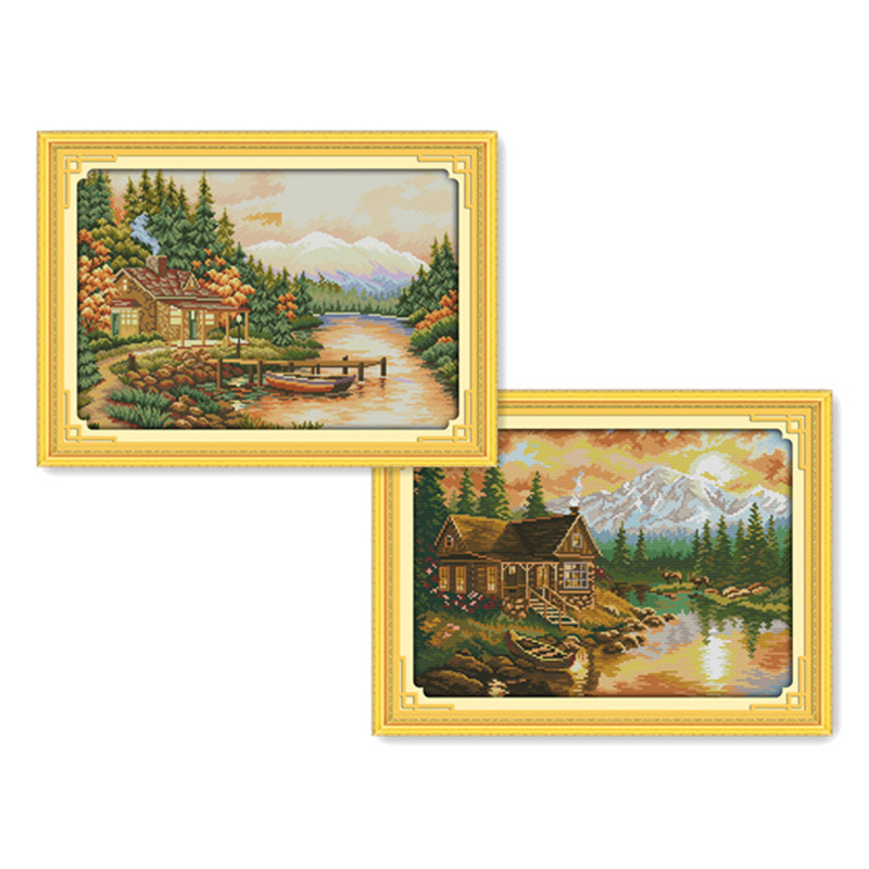 Everlasting love Sunset Chinese cross stitch kits Ecological cotton stamped printed 11CT DIY new year Christmas decorations gift