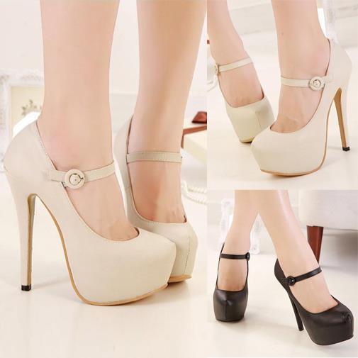 12842d4188 Para mujer tacones altos plataforma oculta imitación de cuero para mujer  bombas de Mary Jane Stilettos de noche de baile zapatos ventas al por mayor  en de ...