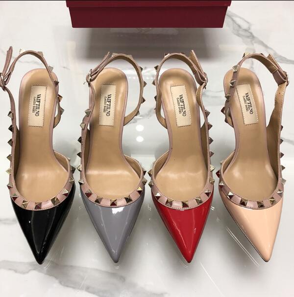 2019 été nouveau PU cuir V marque Rivet chaussures à talons hauts femmes à talons fins Sexy Rivets Net sandales rouges avec boîte rouge