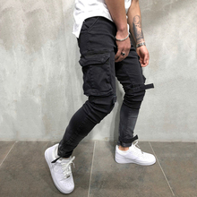 OLOME Brand New Men Multi-pocket Biker Jeans Male Slim Cargo Joggers Trousers for Mens Black Color Streetwear Swag Denim Pants недорго, оригинальная цена