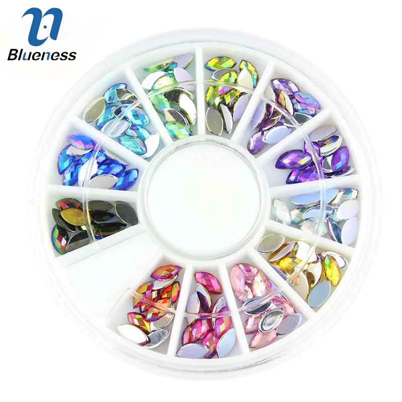 Blueness Glitter Acrylic 3D Nail Art Decorations Colorful Horse Eye Design AB Rhinestones Accessories Manicure Supplies ZP202 hot 1 box 1 2mm zircon nail art rhinestones micro glitter nail rhinestones mini shiny nail art decorations manicure accessories