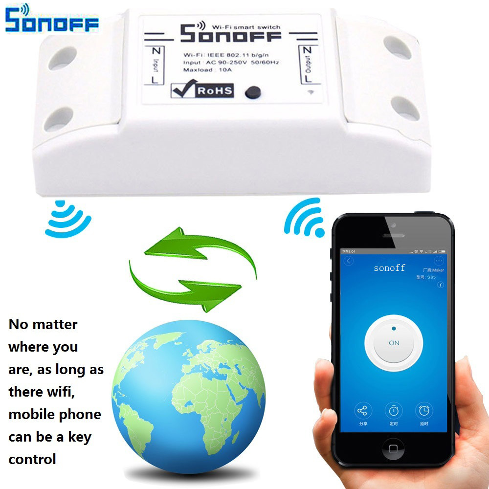 Sonoff DIY Remote Wireless Switch Universal Module Wifi light Switch by phone App for Smart Home Automation itead 220v sonoff wireless wifi switch universal smart home automation module timer diy wifi remote control switch on off wireless timer