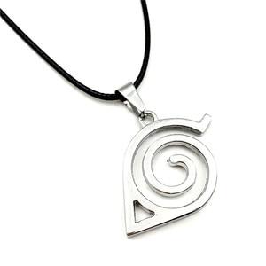 Image 1 - En gros 10 pcs/lot Anime bijoux Naruto Konoha Logo pendentif collier avec chaîne de corde pour hommes cadeaux