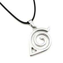 Venta al por mayor 10 unids/lote joyería anime, Naruto Konoha logotipo colgante collar con cadena de cuerda para hombres regalos