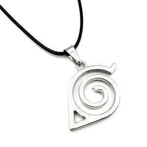 Image 1 - Wholesale 10pcs/lot Anime Jewelry Naruto Konoha Logo Pendant Necklace With Rope Chain For Men Gifts